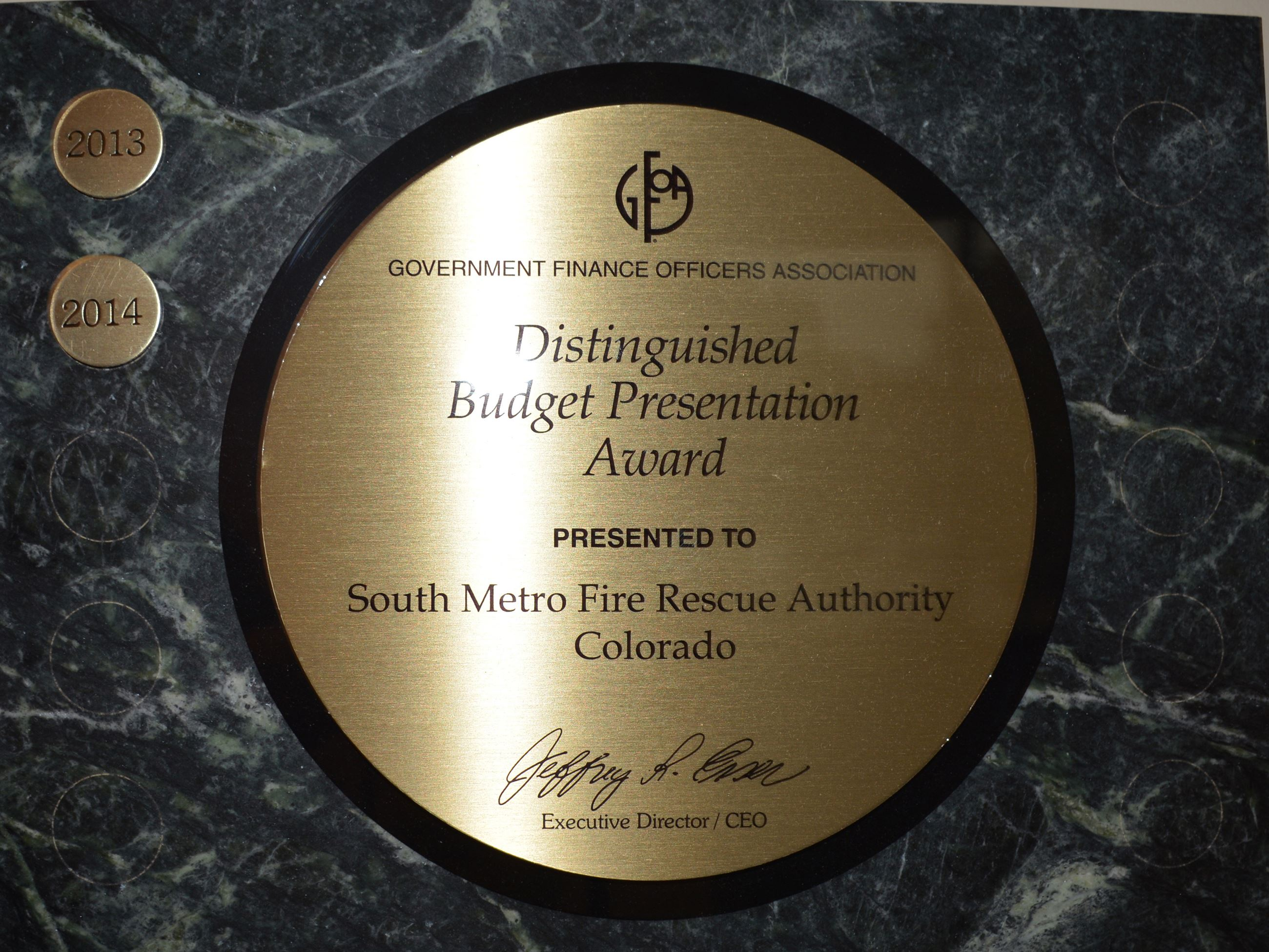 2016 Results - Distinguished Budget Presentation Award